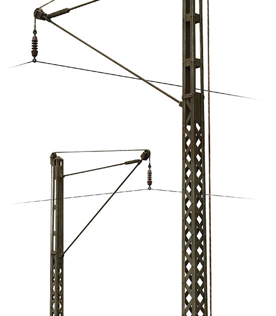 Miniart 35570 RAILROAD POWER POLES & LAMPS