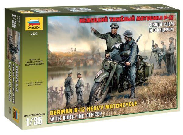 ZVEZDA 3632 German Wwii Motocicletta R12 Singola Con 2 Figurini