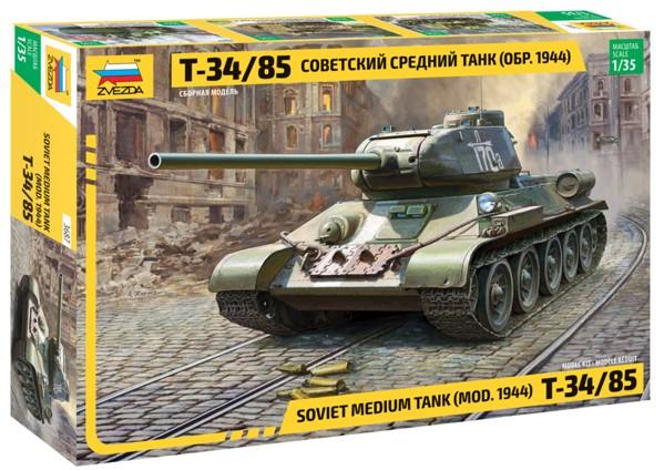 Zvezda 3687 Soviet Medium Tank T-34/85 (new molds)