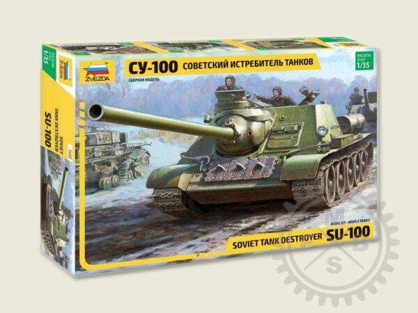 Zvezda 3688 Soviet S.P.Gun SU-100 (new molds)