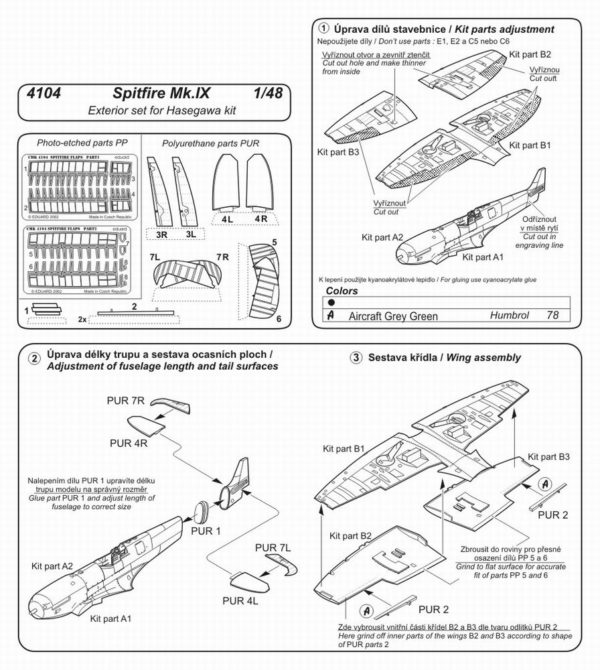 CMK 4104 SPITFIRE MK.IX ESTERNI PER HASEGAWA Modellismo