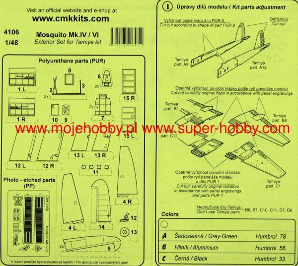 CMK 4106 MOSQUITO MK IV/VI ESTERNI TAMIYA Modellismo