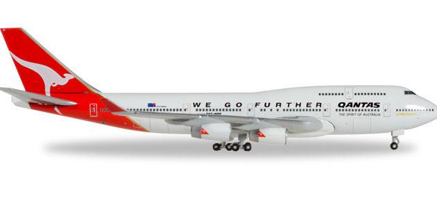"Herpa 500609-001 Boeing 747-400 Qantas  25° ""We Go  Furthe Modellismo"