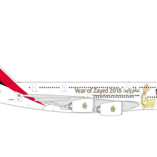 """Herpa 531535 Airbus A380 Emirates """"Year of Zayed"""" Modellismo"""