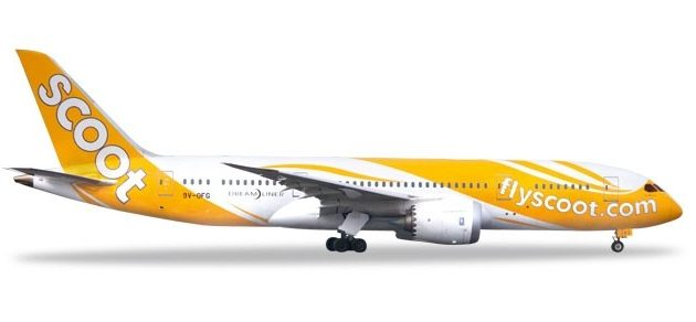 """Herpa 531627 Boeing 787-8 Scoot Dreamliner """"Kama  Soot Modellismo"""