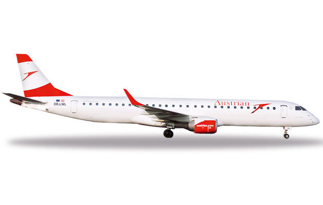"Herpa 531641 Embraer E195 Austrian ""city of Prague"" Modellismo"