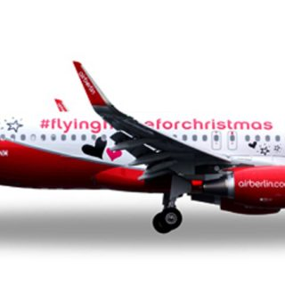 """Herpa 558150 Airbus A320 airberlin """"Lindt- Chiristmas"""" Modellismo"""