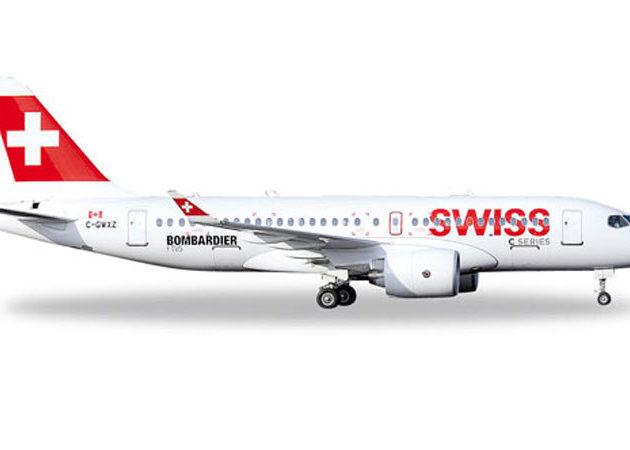 Herpa 562522 Bombardier CS100 Swiss International Modellismo