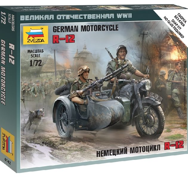 ZVEZDA 6142 German Motorcycle R-12 With Sidecar