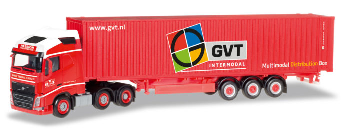 """Herpa 307710 Volvo FH Gl. 4x2 45 ft. Container """"GVT"""""""