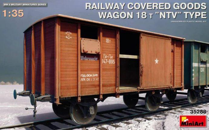 "MiniArt 35288 RAILWAY COVERED GOODS WAGON 18t ""NTV"" TYPE"