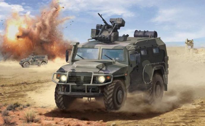 """ZVEZDA 3683 GAZ Tiger with """"Arbalet"""""""