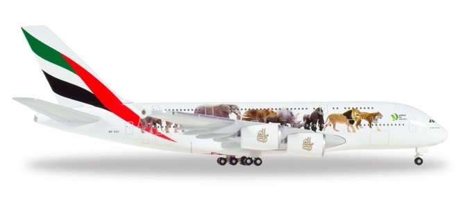 "Herpa 531764 Airbus A380 Emirates ""United for Wlidlife"""