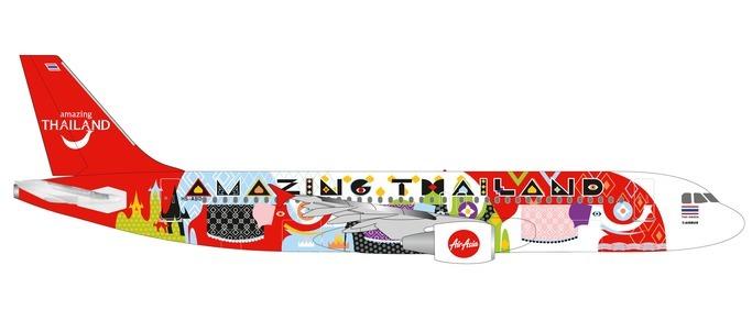 """Herpa 532686 Airbus A320 Thai Air Asia """"Amazing Thailand"""""""