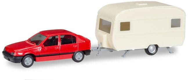 Herpa 013420 Minikit Opel Kadet E GLS con roulotte