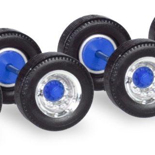 Herpa 053891 Assali ruote cromo/blu  (12pezzi)