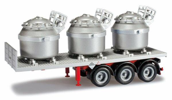 Herpa 076517 Rimorchio con 3 contenitori alluminio