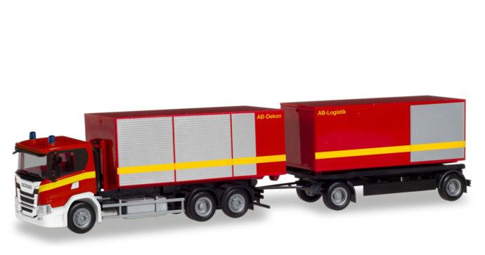Herpa 310017 Scania CG 17 con rimorchio pompieri
