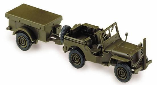 Herpa 741989 JEEP con rimorchio US