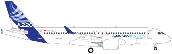 Herpa 532822 AIRBUS A220-300-C-FFDO AIRBUS