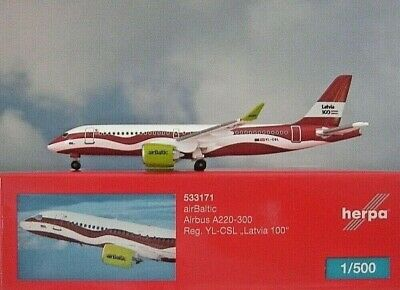 """Herpa 533171 AIRBUS A220-300 AIRBALTIC """"LATVIA 100"""""""