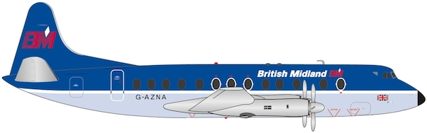 Herpa 559591 Vickers Viscount 800 British Midlands